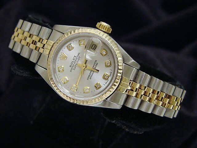 Rolex Datejust Ladies Yellow Gold Stainless Steel Watch Silver Diamond 69173