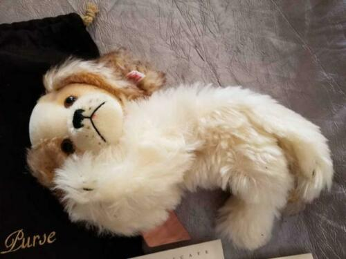 """Authentic Steiff Button in Ear 12"""" Dog CHARLY PURSE with COA Papers Mohair 2005"""