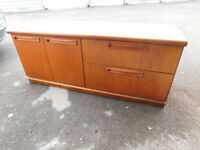 Retro teak sideboard, TV Entertainment unit, 2 drawers, cupboard, used but tidy