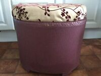 Lloyd Loom style Ottoman Storage Box for Bedroom, Bright Purple Modern Print
