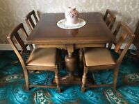 Dining table, chairs and sideboard