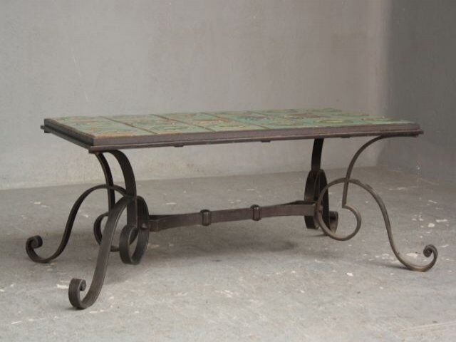 Table basse 1940 en fer forg et c ramique eur 570 00 - Table basse en fer ...