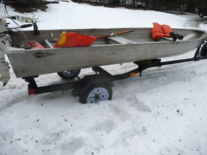 14 ft aluminum boat, with 2 motors and trailer