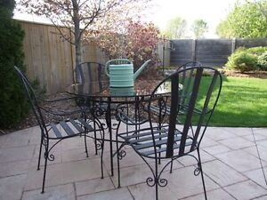 Black Custom Made Patio Table and 4 Chairs