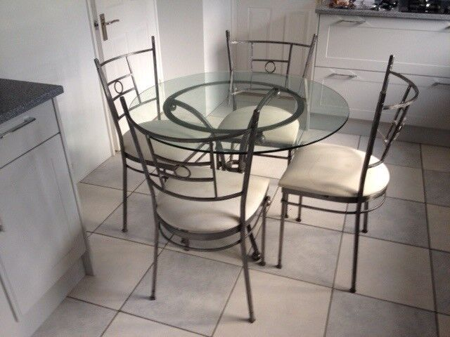 Round glass kitchen table and chairs