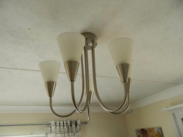REYA BRUSHED CHROME EFFECT 5 LAMP PENDANT CEILING LIGHT. | in ...