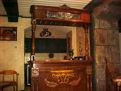 WOODEN TIGER OAK BAR WITH GRANITE & LIGHT BRIDGE CANOPY TOP AND 2 SWIVEL CHAIRS