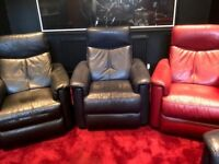 4 Furniture Village leather armchairs