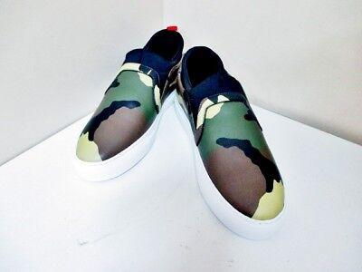 Auth GIVENCHY Skate Sock BM0840822 Khaki Camouflage Leather Men