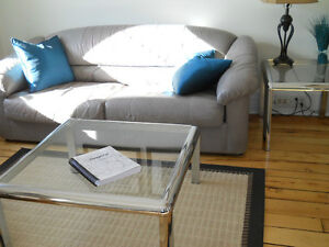 Modern Glass and Chrome Coffee with 2 End Tables