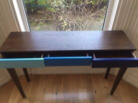 Dark stain ash and blue console table with 3 drawers- stylish yet practical, in excellent condition