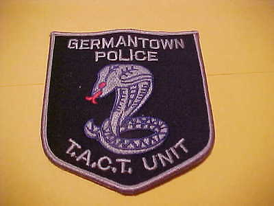 GERMANTOWN TENNESSEE T.A.C.T.  UNIT POLICE PATCH SHOULDER SIZE UNUSED