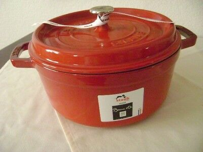 """NEW-  STAUB Enameled Cast-Iron Large Round Cerise Red Dutch Oven 4+ Qt-9-3/8"""""""
