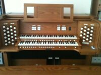 Viscount two-manual illuminating drawstop organ in real wood with matching bench