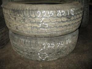 225/70 R16 BFGOODRICH USED TIRES (SET OF 2) - APPROX. 99% TREAD