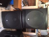 Pair of Mackie SRM 1801 powered sub woofers / bass bins