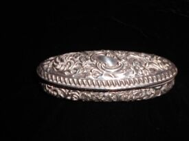 Silver (English) Oval Box with Floral Design, Hallmarked