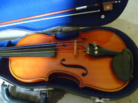 full-size violin outfit in good condition-plays well, great starter instrument