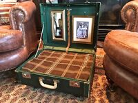 Antique Vintage cat dog suitcase valise luggage beds