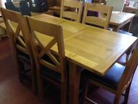 NEW Compact thick oak 4ft extending to 5.5ft dining table & 4 Oak chairs £599
