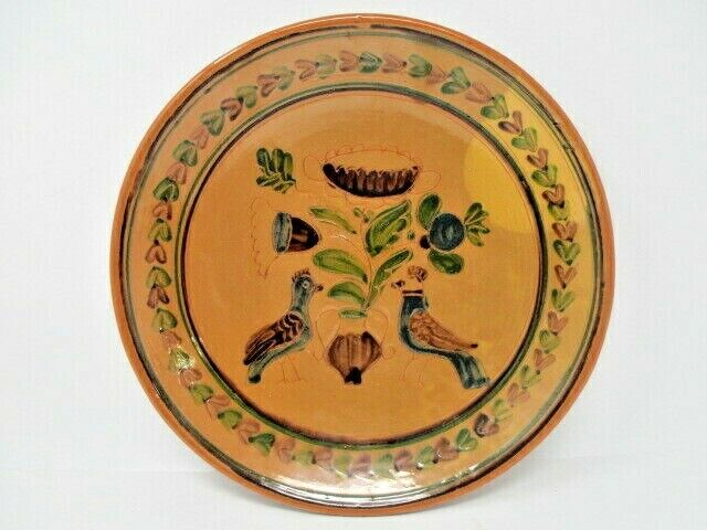 "Reconstructed Handpainted 13"" Ceramic Wall Plate, Province of Rzesowskie, Poland"