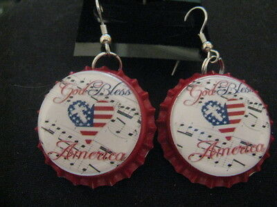 4th Of July Craft Ideas (4th of July Handmade Bottle Cap Earrings ~ **Gift)