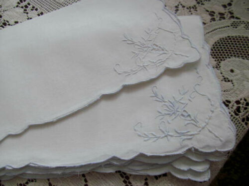 Set of 12~Antique White Luncheon Tea Napkins w/Blue Thread~Cutwork Embroidery