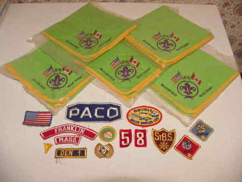 Boy Cub Scout Patches Chief 5 Neckerchief Slide Wolf Bobcat Revell Paco Flag NJ