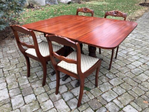 Mahogany Drop Leaf Dining Table with 4 Chairs Hand Carved 1930
