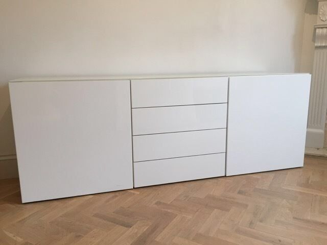 Ikea besta white sideboard with glass top in moulton for White gloss sideboards at ikea
