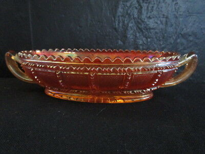 "SCARCE OLD CARNIVAL GLASS IMPERIAL "" FROSTED BLOCK "" RELISH DISH"
