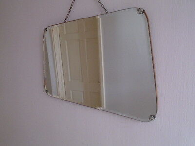 30s 40s ART DECO VINTAGE LARGE FRAMELESS BEVEL EDGED MIRROR