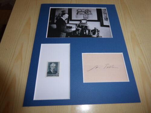 Nikola Tesla mounted photograph & original 1936 stamp & preprint autograph card
