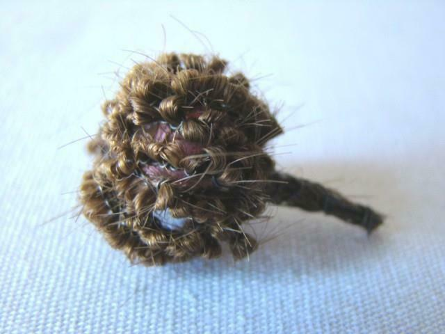Small Antique Victorian MOURNING HAIR FLOWER Decoration for Wreath or Ornament