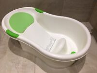 Tippitoes Baby Bath (White with Green Trim)