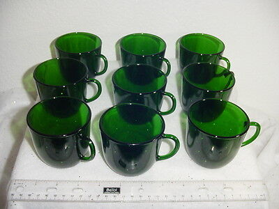 Anchor Hocking forest green glass coffee cups  9 vintage