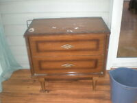 Two Drawer Wooden Nightstand Needs Paint