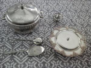 Unique Vintage  Silver Serving Pieces