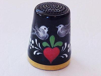 Glass Thimble Black Love Birds and Flowers Germany Handarbeit