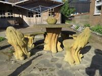 Fabulous Wood Effect Concrete Garden Table, Chairs, Benches, Fruit Bowl