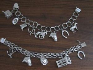 Two Beautiful Sterling Silver Charm Bracelets with Unique Charms