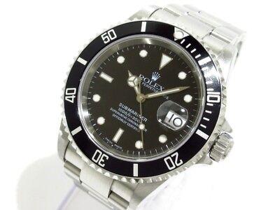 Auth ROLEX Submariner Date 16610T Silver, Black F334712 Men