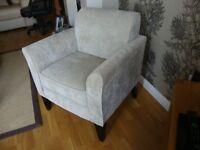 Chair in light natural velvet style fabric