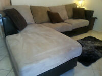 Leather and Microsuede L Shaped Sectional Couch with Chaise