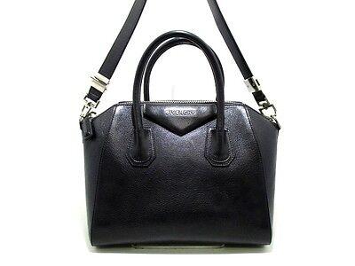 Auth GIVENCHY Antigona Black Leather Shoulder Bag w/ Dust Bag