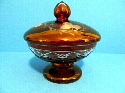 """VINTAGE CANDY DISH, BOHEMIAN/ CZECH RUBY RED ETCHED ART GLASS TOP 7""""TALL 6""""WIDE"""