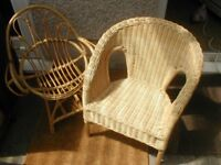 IKEA agen wicker childs chair and bentwood cane chair