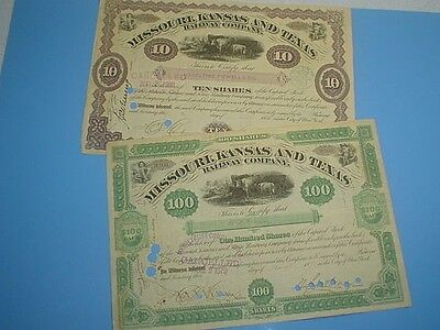1879 & 1886 MISSOURI, KANSAS AND TEXAS RAILWAY CO. STOCK CERTIFICATE