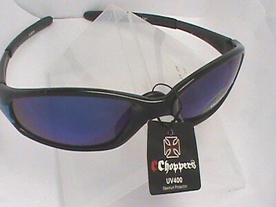 1d5630ba57d NEW CHOPPERS BIKER SUNGLASSES - IRON CROSS HANDLES - BLUE RED UV400 LENS -  ST32
