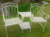 TWO SEATER WROUGHT IRON LOVE SEAT.ANTIQUE. CREAM (NEW)